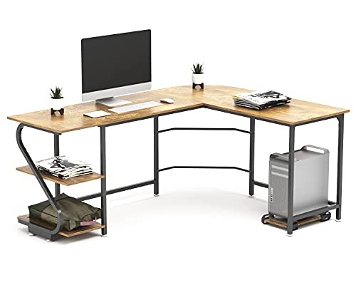 scrivania gaming angolare grande Scrivania angolare a forma di L con ripiani per 2 persone