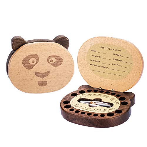 Baby Tooth Keepsake Fairy Box Holder with Lanugo Bottle, AhfuLife Wooden Panda Shape Keepsake Box for First Lost Teeth, Cute Tooth Storage Holder Organizer, Baby Shower Gifts for Newborn, Boy & Girl