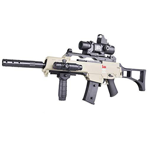 AUZZO HOME G36C Balas de Agua Pistola Gel Bola Blaster Asalto Pistola de Juguete Manual eléctrico Rifle de Disparo de Modo Dual Pistola de Agua para niños al Aire Libre Juego de Disparos CS,Caqui
