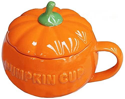 YBK Tech Cute Pumpkin Cup Ceramics Coffee Mug Milk Cup with Lid (Cup) (Kitchen & Home)