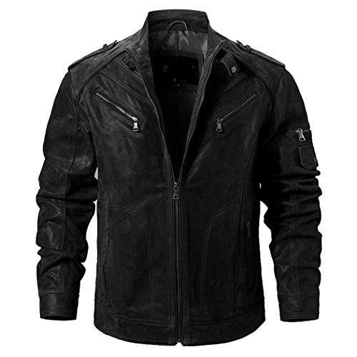 KGDHAWNT Herren Schweinsleder Jacke aus echtem Leder, echte Lederjacken Motorradmantel Black XXL