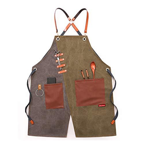 Takeashi Werkzeugschürze mit Taschen Arbeitsschürze für Männer und Fraue Hochleistungs-Schürze aus Segeltuch Verstellbare Zimmermannsschürze bis XXL