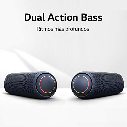 LG XBOOM Go PL7 - Altavoz Bluetooth de 30W de Potencia con Sonido Meridian, autonomía 24 Horas, Bluetooth 5.0, protección IPX5, iluminación LED, USB-C, comandos de Voz Google y Siri, Dual Action Bass