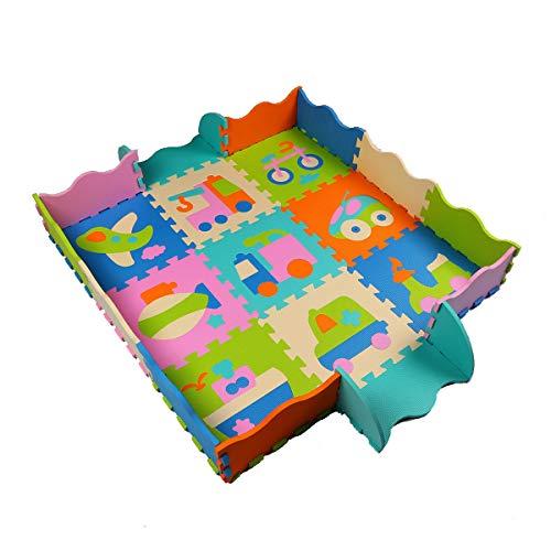 Trimming Shop, 9 tappetini da gioco per gattonare, non tossici, extra spessi, recinzione pieghevole, 30,5 cm Design-3