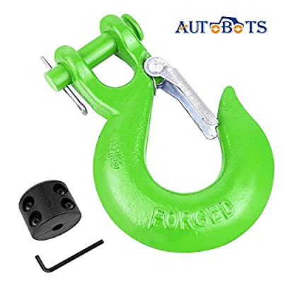 """AUTOBOTS Grade 70 Latch Clevis Slip Hook & Winch Cable Hook Stopper Sets with Heavy-Duty Forged Steel 3/8"""", Included Allen Wrench, Max 35,000 lbs,Green & Black"""