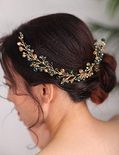Deniferymakeup Emerald Hair Comb Crystal Golden...
