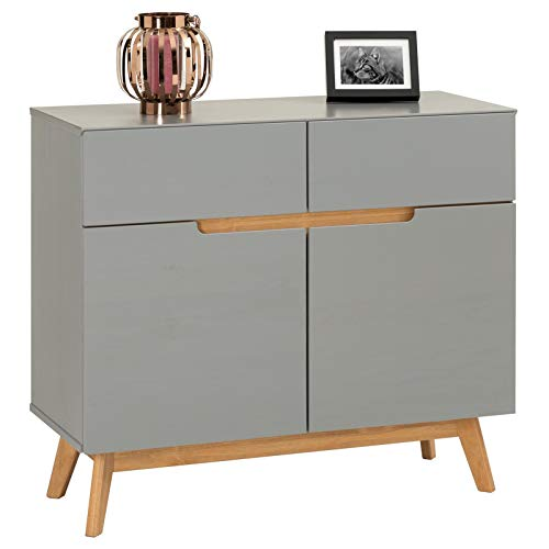 IDIMEX Kommode Tibor Anrichte im nordischen Design, Sideboard im skandinavischen Stil mit 2 Türen und 2 Schubladen, Kiefer massiv, in grau