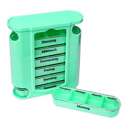 Schramm® Tablettenbox grün mit grünen Schiebern 7 Tage Pillen Tabletten Box Schachtel Tablettendose Pillendose Pillenbox Tablettenboxen Pillendosen Pillen Dose Wochendosierer