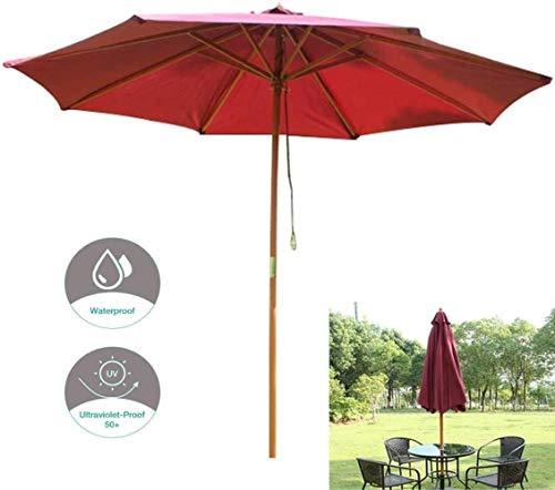 Parasols Ø270cm Jardin, Extérieur Pare-Soleil, Crème Solaire Et Anti-Pluie Ceinture À Manivelle, for L'extérieur Terrasse De Jardin en Bois (Color : Red)