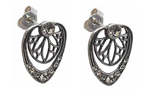 Damen Jugendstil Ohrstecker Ohrringe 925 Silber Jugendstil
