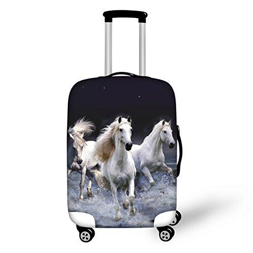 Elastisch Kofferschutzhülle Kofferhülle Kofferschutz Kofferbezug Gepäck Luggage Cover mit Reißverschluss Pferd L 26-28 Zoll