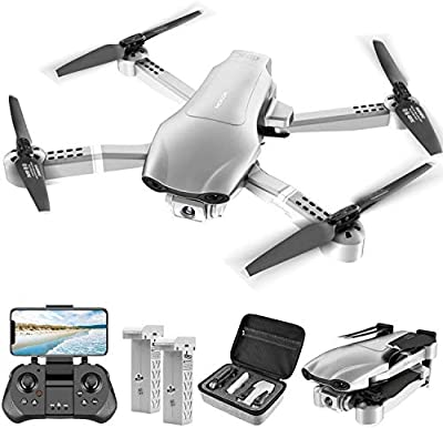 4DRC F3 GPS 4K Drone with FHD FPV Camera Live Video for Adults, Portable Selfie Quadcopter for Beginners with Auto Return Home, Follow Me, Auto Hover, Silver, Includes Carrying Case