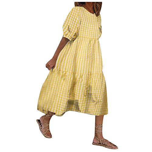 Kleider Damen Sommerkleider Midikleider Boho Kleider Rockabilly Abendkleider Bohemien TShirtkleider Teenager Mädchen und Frauen Vintage Fashion Puff Sleeve Printed Lässiges lockeres Spleißkleider