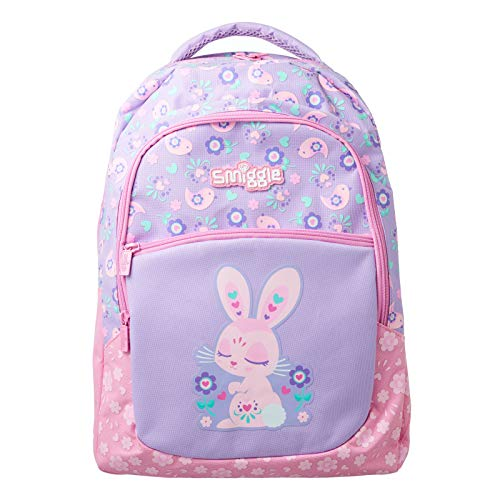 Smiggle Kids School Backpack with Three Zipped compartments for Boys and Girls from The Deja Vu 3 Collection | Bunny Print
