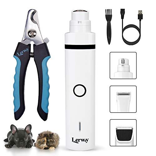 LERWAY Krallenschleifer für Hunde & Katzen, 3-in-1 Elektrischer Tierhaarschneider Haustier Haarschneider Nagelknipser Schnurlosen Wiederaufladbare für Kleine Mittelgroße Hunde und Katzen
