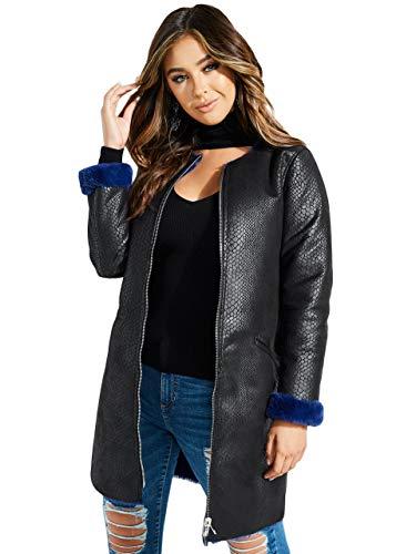 Guess Damen Long Sleeve Marcia Faux Snake Skin Coat Jacke, Stein/Schwül Rot, Klein