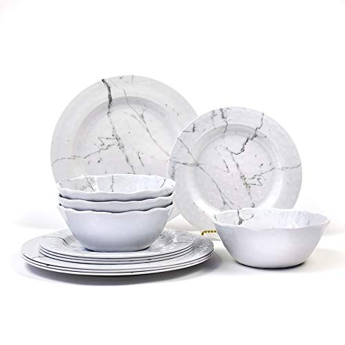 12-Piece Melamine Dinnerware Set - For Outdoor/Indoor Use, Unbreakable, Lightweight, BPA Free, Service For 4, Marble Pattern