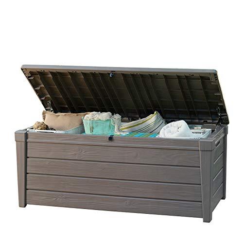 tepro Keter Garten-Box Aufbewahrungsbox Kissenbox Auflagenbox Brightwood 455 L Truhe