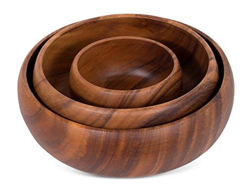 BirdRock Home Round Calabash Bowls - Set of 3 - Acacia Wood Bowls