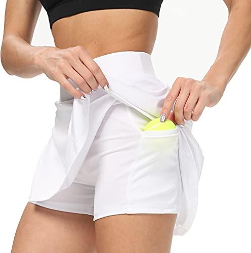 AINIC Damen Sportskort Tennisrock mit Innenhose & Tasche Minirock Faltenrock Kurz Skort Athletic Hosenrock Laufenrock (Weiß, S, s)
