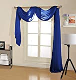 Decotex Premium Quality Sheer Voile Scarf Valance for Home & Event Designs (54' X 216', Royal Blue)
