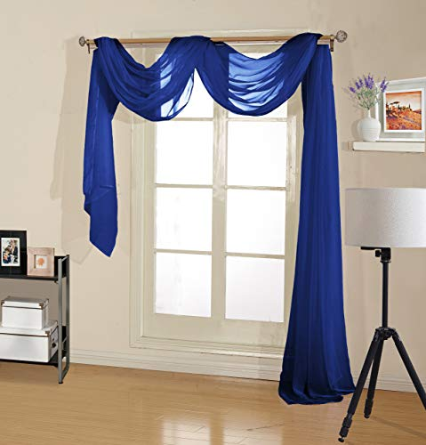 """Decotex Premium Quality Sheer Voile Scarf Valance for Home & Event Designs (54"""" X 216"""", Royal Blue)"""