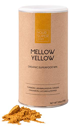 Your Super Mellow Yellow Superfood Mix - Plant Based Stress Reduction, Anti-inflammatory, Essential Vitamins, Antioxidants, Non-GMO, Organic Turmeric, Ashwagandha, Lucuma - 200g