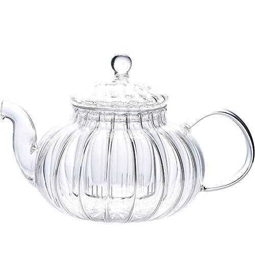 IwaiLoft 癒し 耐熱ガラス ティーポット 茶こし付き ガラス 急須 ティーフォーツー ガラス製ポット 紅茶 フルーツティー リーフティー 花茶 工芸茶 ハーフティー に 直火可 IL-SET1925 (筋入ティーポット, 600ml)