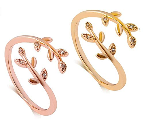 Grow Through What You go Through Ring Adjustable Leaf Ring Open Ring for Girl Women (RGD+GLD)