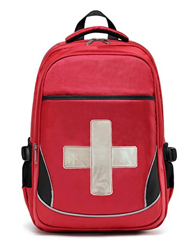 Camoredy First Aid Bag Empty Red Emergency Medical Backpack First Responder Trauma Bag Waterproof Multi-Pocket for Traveling, Field Trips, Camping, Hiking, Scout Troop, Childcare (Reflective Cross)
