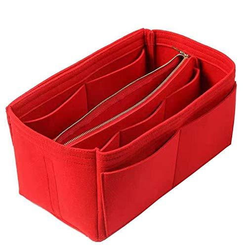 NEPAK Handtaschen Organizer, Filz Taschenorganizer für Frauen Handtasche,Abnehmbare Reißverschluss-Tasche,Red - M