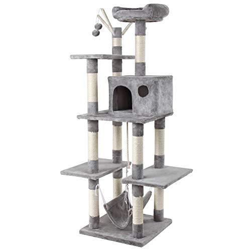 GRANDMA SHARK Árbol Rascador para Gatos, Casas de Juego y Lugares de Descanso para Gatos (Gris Claro)