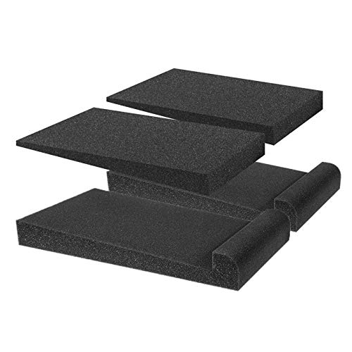2 Pair of Acoustic Foam Isolation Pad for Studio Monitor Loud-speaker Playback Recording Effect Reducing Background Noise -Black