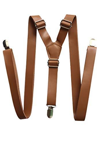 Tirantes de cuero sintético para hombre, estilo vintage, color marrón oscuro, negro