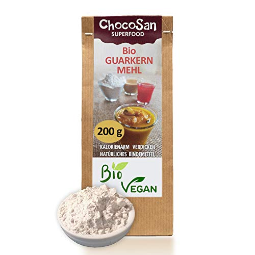 Guarkernmehl Bio Ӏ guar gum low carb Mehl Ӏ glutenfrei Ӏ Ei Ersatz Ӏ vegan Ӏ Backen & Kochen Ӏ pflanzliches Bindemittel Andickungsmittel Verdickungsmittel Saucenbinder Ӏ 200g