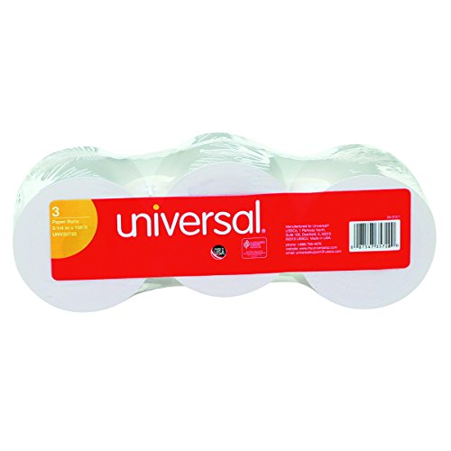 Universal 35720 Adding Machine/Calculator Roll, 16 lb, 1/2' Core, 2-1/4' x 150 ft, White (Pack of 3)