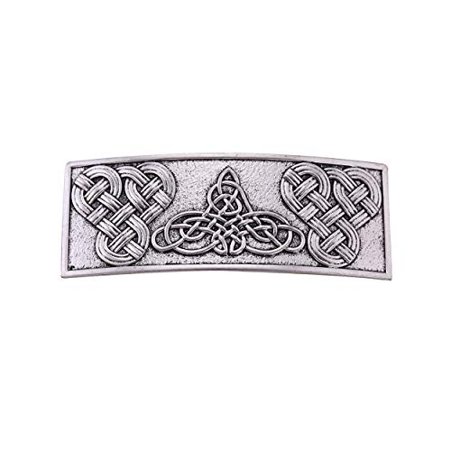 fishhook Large Celtic Hair Clip Vintage Viking Irish Knotwork Protection Barrettes Gift for Women Girls (Antique Silver)