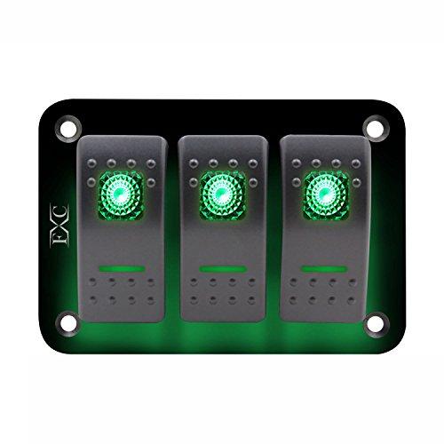 Youmine 12V-24V 3 Grupos Panel de Interruptor basculante Palanca Luz LED Verde encendida apagada Coche Barco Marino
