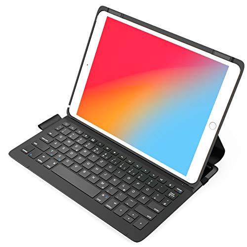 Inateck Ultraleichte Tastatur Hülle für iPad 2020(8th Gen)/iPad 2019(7th Gen) 10.2 Zoll, iPad Air 3 & iPad Pro 10.5, mit Smart Power Knopf, QWERTZ, BK2006