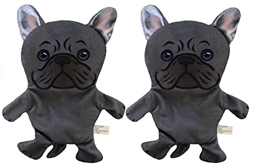 French Bulldog Paper Crinkle Squeaker Toy 2 Pack - Light Weight - Easy to Flip & Shake - Pet Toys - Handmade