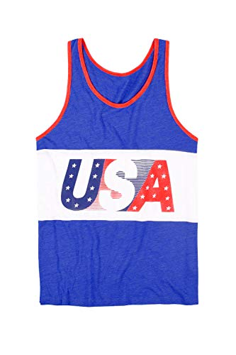 Tipsy Elves Men's USA Tank Top - American Flag Tank Top: Medium