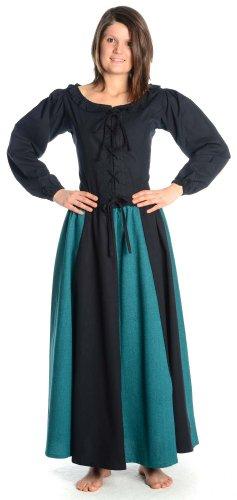 HEMAD Falda medieval de algodón para mujer - L/XL Negro & Verde