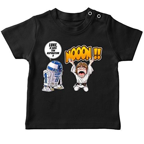 T-Shirt bébé Noir Star Wars parodique Luke Skywalker et R2-D2 : Luke Life Episode V : Un Robot.ménager !! (Parodie Star Wars)