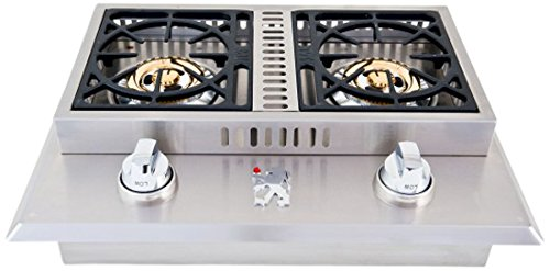 Lion Premium Grills L1707 Propane Gas Double Side Burner, 26-3 4 by 20-1 2-Inch