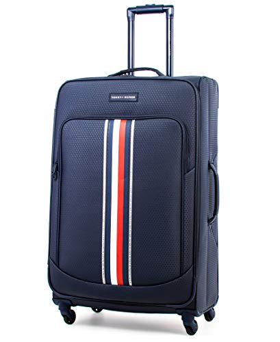 Tommy Hilfiger Global Pop Softside Expandable Spinner Luggage, Blue, 28 Inch