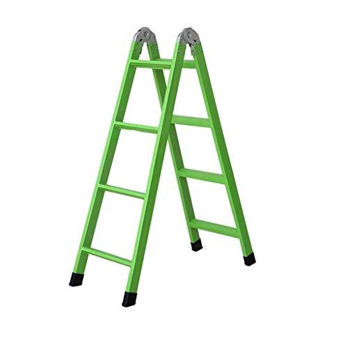 MJY Escaleras de Tijera de Hierro Verde Multipropósito, Escalera Combinada Escalera Recta Escalera de Cuatro Escalones de Doble Cara Escaleras de Ingeniería,Verde,Los 41 * 98 * 132Cm