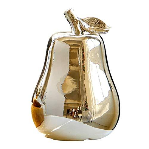 Tubayia Keramik Künstliche Birne Obst Figur Dekofigur Ornament für Hochzeit, Geburtstag, Weihnachten (Golden)