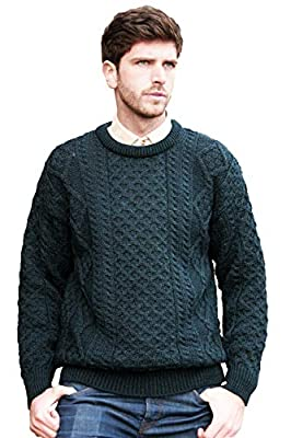 Aran Crafts Irish Soft Cable Knitted Wool Crew Neck Sweater (C1347-MED-BLA) by Aran Crafts