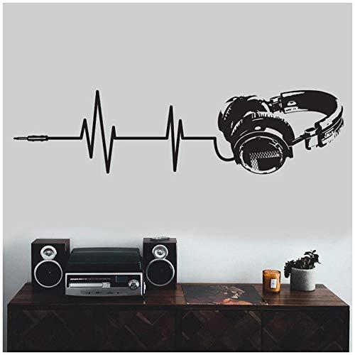 YIMING Etiqueta engomada de la pared del vinilo de los auriculares música arte Dj impermeable calcomanía silueta corte decoración mural etiqueta engomada de los auriculares 42x165cm