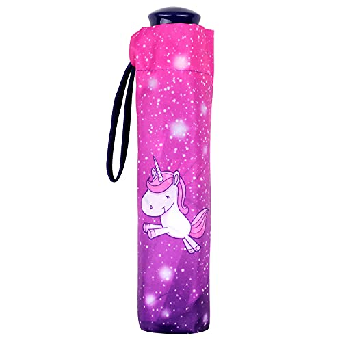 P:os 28281 - Taschenschirm mit Einhorn Motiv, windfester Regenschirm für Mädchen mit manueller Öffnung, Durchmesser ca. 90 cm
